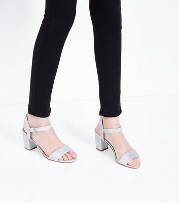 Teens Silver Glitter Block Heeled Sandals New Look