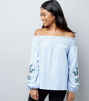 Petite Blue Embroidered Sleeve Bardot Neck Top New Look