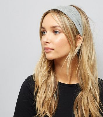 Grey Ribbed Stretch Hairband New Look