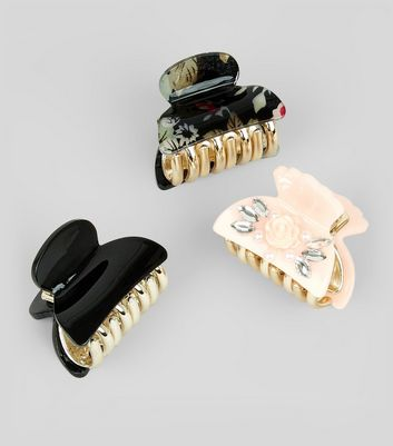 3 Pack Embellished and Floral Print Bulldog Clips New Look
