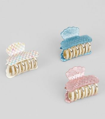 3 Pack Irridescent Shell Bulldog Clips New Look