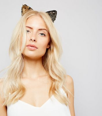 Gold Sequin Cat Ears Headband New Look