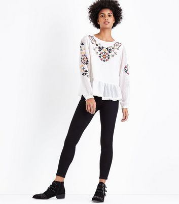 White Crochet Embroidered Peplum Hem Top New Look