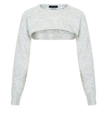 Grey Ribbed Super Cropped Jumper New Look