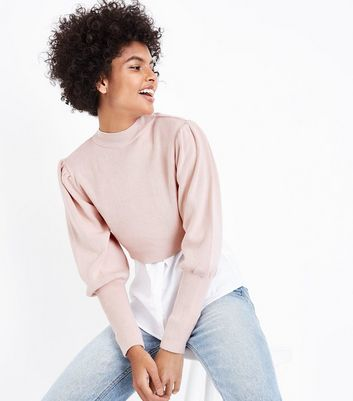 Shell Pink Puff Sleeve Cropped Jumper New Look