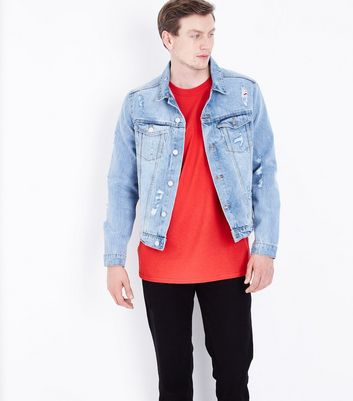 Blue Ripped Denim Jacket New Look
