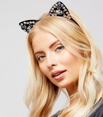 Black Floral Sequin Embellished Cat Ear Headband New Look