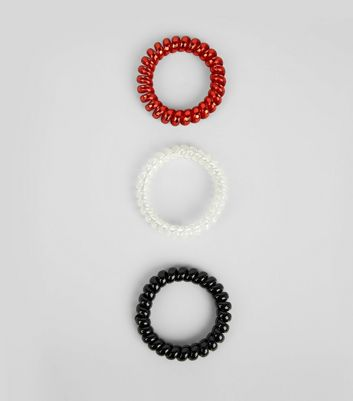 3 Pack Red White and Black Spiral Bobbles New Look