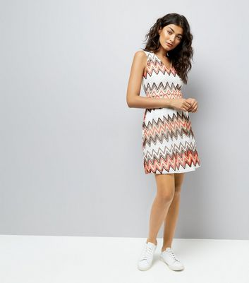 Mela Orange Chevron Crochet Dress New Look