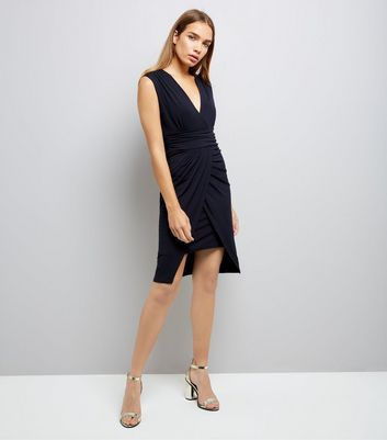 Mela Navy Waterfall Dress New Look