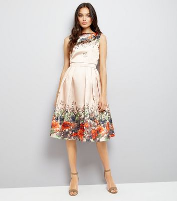 Mela Nude Floral Border Prom Dress New Look