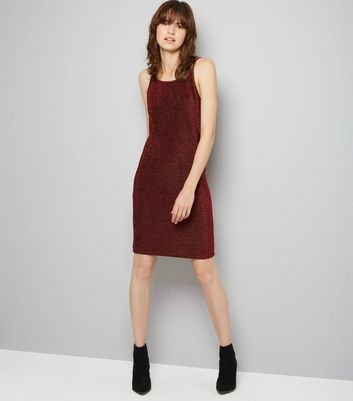 Noisy May Red Glitter Slip Dress New Look