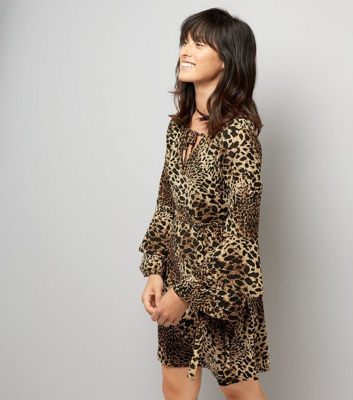 74c4a5755528 Mela Leopard Print Frill Bell Sleeve Dress | New Look