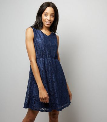 Mela Navy Lace Sequin Detail Tea Dress New Look