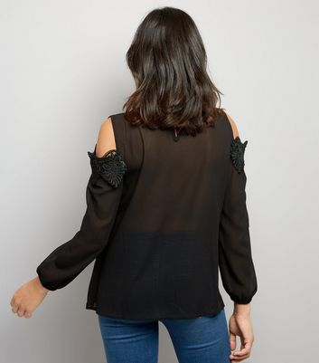 Mela Black Lace Trim Cold Shoulder Top New Look