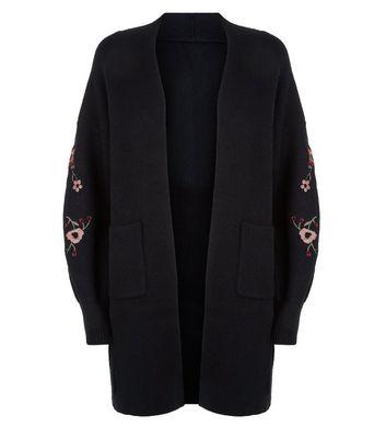 Blue Vanilla Black Embroidered Sleeve Cardigan New Look