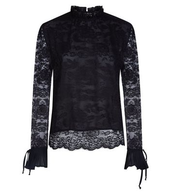 Blue Vanilla Black Lace Tie Sleeve Blouse New Look