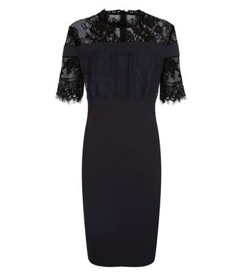 Blue Vanilla Black Lace Trim Dress New Look