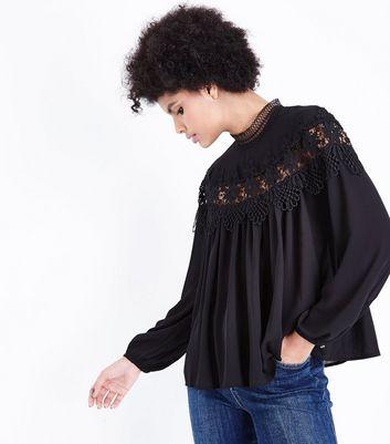 Blue Vanilla Black Crochet Panel Blouse New Look