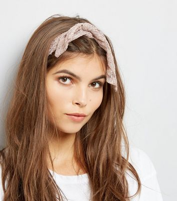 Nude Lace Knot Tie Headband New Look