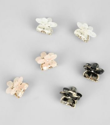 6 Pack Mini Floral Bulldog Clips New Look