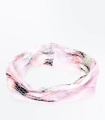 Pink Blurry Tie Dye Print Headband New Look