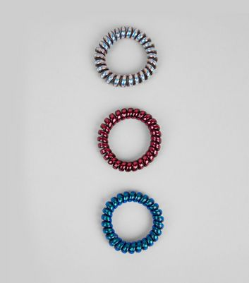 3 Pack Iridescent Spiral Bobbles New Look