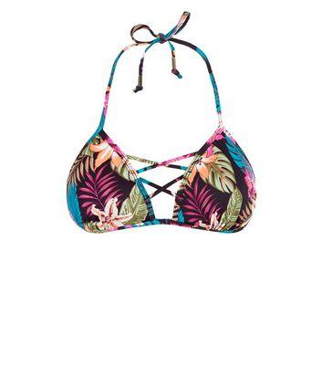 Black Tropical Print Lattice Front Bikini Top New Look