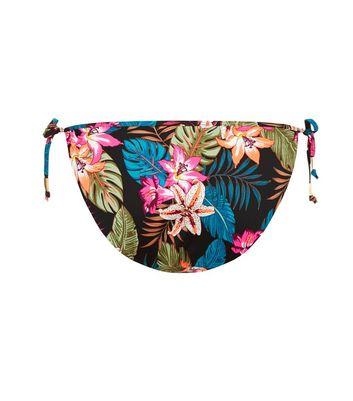 Black Tropical Print Tie Side Bikini Bottoms New Look