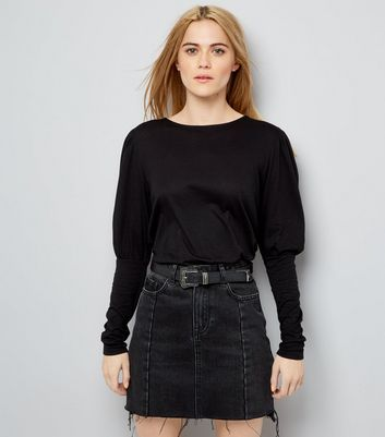 Black Puffed Sleeve Top New Look