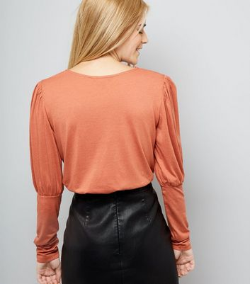 Brown Puffed Sleeve Top New Look