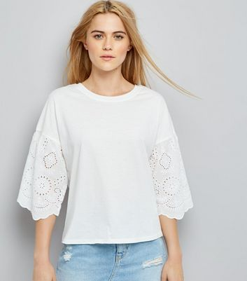 White Broderie Sleeve T-Shirt New Look