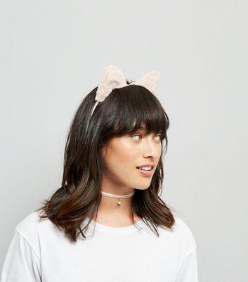 Pink Faux Fur Cat Ear Headband and Choker Set New Look
