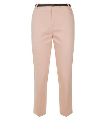 Pink Premium Belted Tailored Trousers New Look