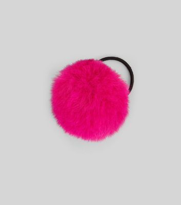 Bright Pink Faux Fur Pom Pom Hair Band New Look