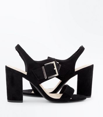 Wide Fit Black Comfort Suedette Buckle Heeled Sandals New Look