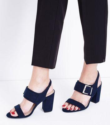 Wide Fit Navy Comfort Suedette Buckle Heeled Sandals New Look