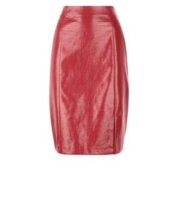 Red Patent Leather-Look Pencil Skirt New Look