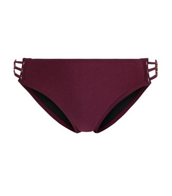 Burgundy Eyelet Bikini Bottoms New Look