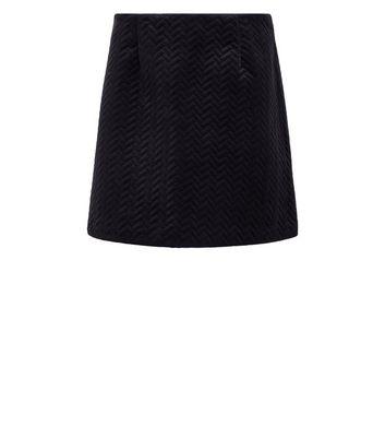 Black Embossed Velvet Mini Skirt New Look