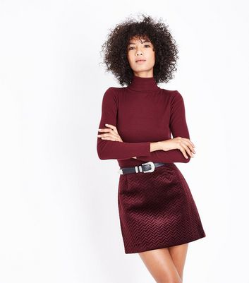 Burgundy Embossed Velvet Mini Skirt New Look