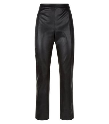 Black Leather-Look Slim Leg Trousers New Look