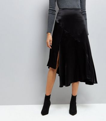 black-asymmetric-satin-midi-skirt