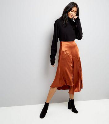brown-asymmetric-satin-midi-skirt