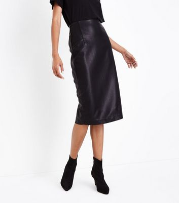 Black Seam Detail Leather-Look Pencil Skirt New Look