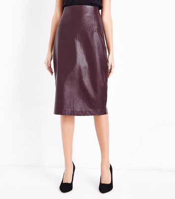 Burgundy Seam Detail Leather-Look Pencil Skirt New Look