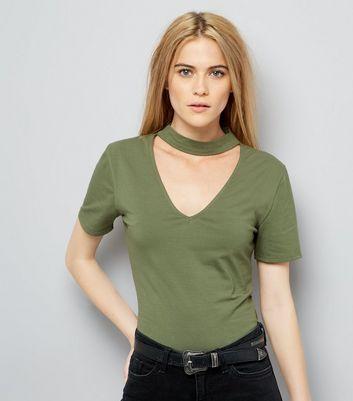 Olive Green Choker Neck T-Shirt New Look