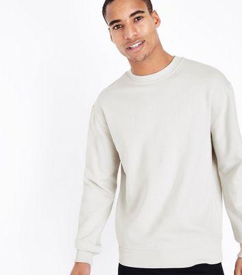 Pale Grey Ribbed Panel Sweatshirt New Look