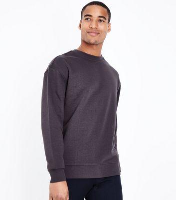 Dark Grey Ribbed Panel Sweatshirt New Look
