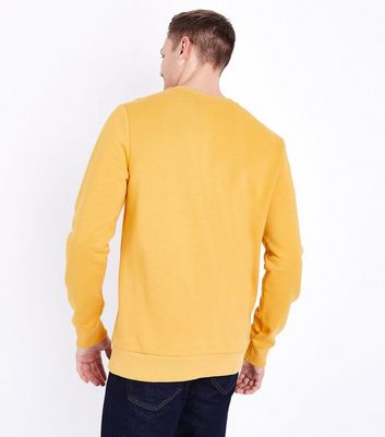 Mustard Ribbed Panel Sweatshirt New Look